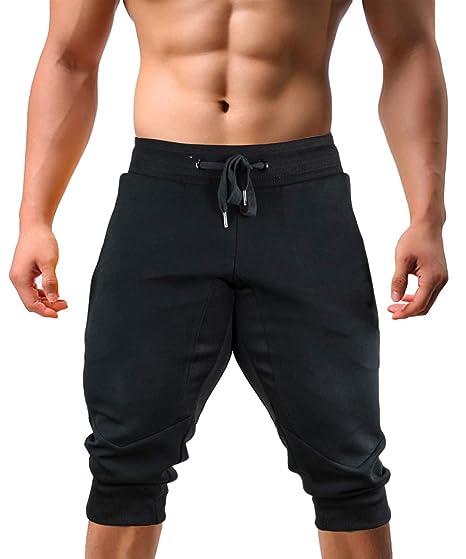 99626917 EKLENTSON Capri Jogger Pants Below Knee Shorts 3/4 Joggers Capri Joggers  for Men Black