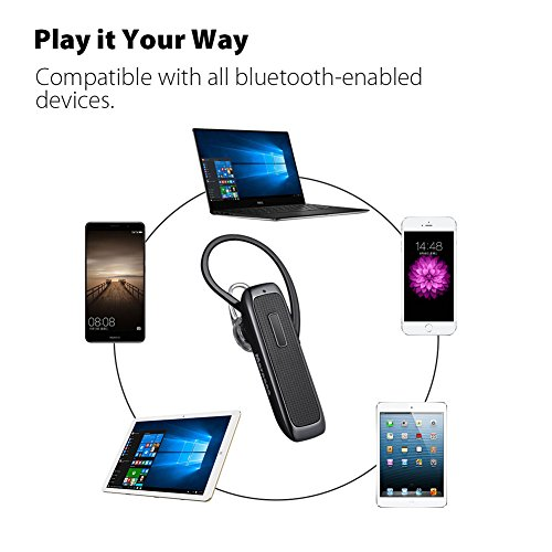 Bluetooth Headset, Wireless Bluetooth Earpiece with 18 Hours Playtime and Noise Cancelling Mic, Ultralight Earphone Hands-Free for iPhone iPad Tablet Samsung Android Cell Phone Calls by Marnana (Image #3)