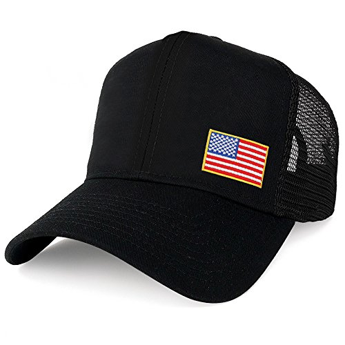 AC Racing USA American Flag Patch Snapback Trucker Mesh Cap - Black (One Size, Small Yellow Side)