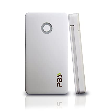 PBS Smart 7000 mAh External Battery Pack Portable Power Bank Charger - Retail Packaging - White