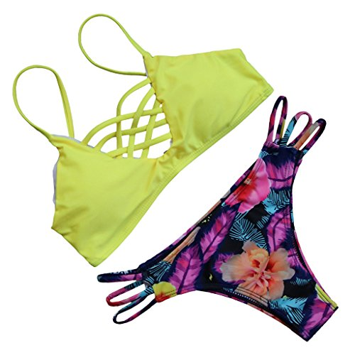 MOOSKINI Womens Push up Bikini Beach Swimsuit Beachwear (Yellow Small)