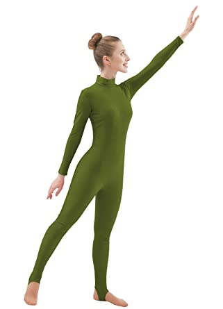596017bbf946c Ensnovo Womens Lycra Turtleneck Front Zipper Long Sleeve Stirrup Foot  Unitard Army Green