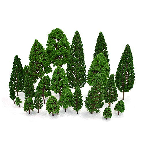 YEDREAM Model Trees Train Trees Railroad Building Scenery Artificial Tree Architecture Trees for DIY Scenery Landscape, Natural Green 1.3- 9.2 inch Mixed (22pcs Green)