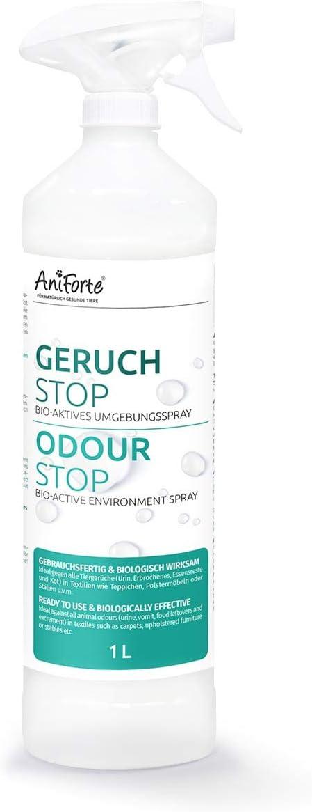 AniForte Odour Stop 1 L - Spray Ambiental Listo para Usar para el hogar, el Coche y Las Mascotas, Spray eliminador de olores contra la orina de Gato, la orina de Perro, el vómito, Las heces