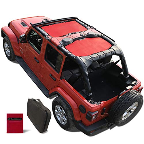 Shadeidea Jeep Wrangler Sun Shade JL Unlimited 4 Door Front and Rear 2 piece-Lava Red Mesh Screen Sunshade JLU Top Cover UV Blocker with Grab Bag-One time Install 10 years Warranty