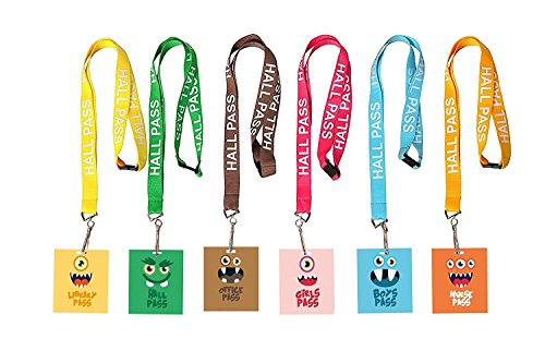 Hall Passes Library (Hall Pass Lanyards and School Passes Cute Monsters (Set of 6))