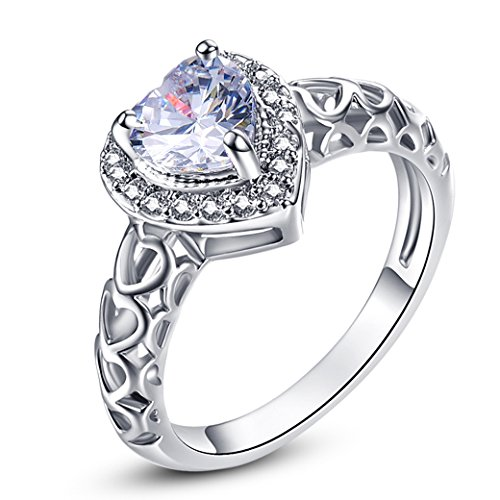 Narica Womens Brilliant 6mmx6mm Heart Shaped White Topaz Cubic Zirconia Engagement Ring ()
