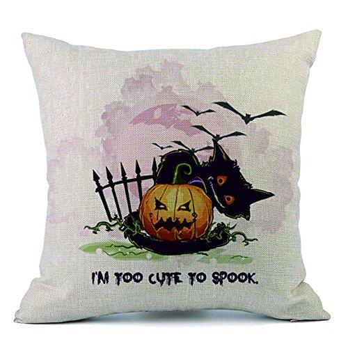 HomeMals Happy Halloween Cotton Linen Pillow Cover Square Burlap Decorative Throw Pillowslip Cushion Cover with Bat Pumpkin Little Witch Element -