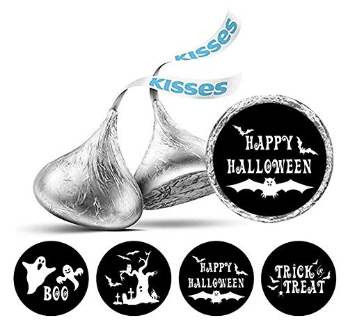 Darling Souvenir  190 Pcs Happy Halloween Theme Stickers Hershey's Kisses Candy Labels-Black]()