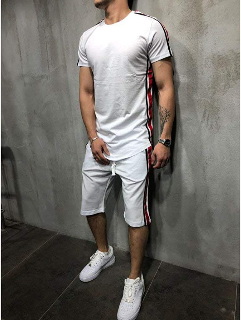 Mens Sports Outfit Set Spring Summer Casual O Neck Short Sleeve Slim Fit T Shirt Tops Short Track Pants Clothes Set 2 Pieces for Training Workout Fitness Jogger
