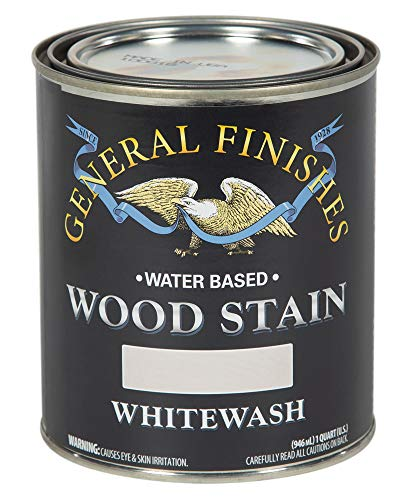General Finishes WIQT Water Based Wood Stain, 1 Quart, Whitewash