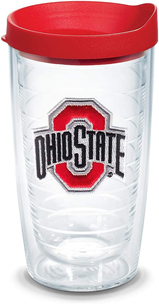 Tervis 1056683 Ohio State Buckeyes Logo Tumbler with Emblem and Red Lid 16oz Clear