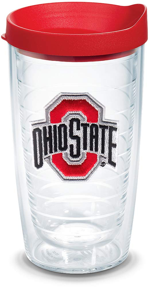 Tervis 1056683 Ohio State Buckeyes Logo Tumbler with Emblem and Red Lid 16oz, Clear