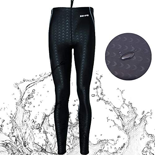 VANPIE Mens Wetsuit Diving Pant Long Surfing Tights Dive Skin Pants Full Length Rash Guard Pants Grey L1