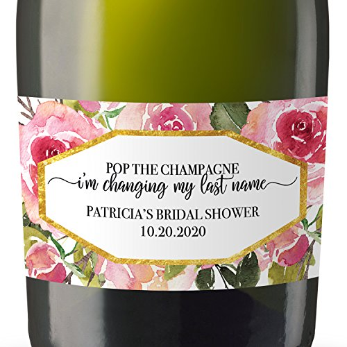 (Bridal Shower Mini Champagne Bottle Label, Custom Bridal Shower Mini Champagne Label, Personalized Mini Champagne Label- Rose Design - set of 8)