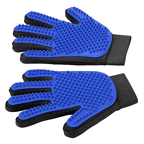 [Upgrade Version] Pet Grooming Glove - Gentle Deshedding Brush Glove - Efficient Pet Hair Remover Mitt - Enhanced Five Finger Design - Perfect for Dog & Cat with Long & Short Fur - 1 Pair (BLUE) (Pet Grooming Brush)
