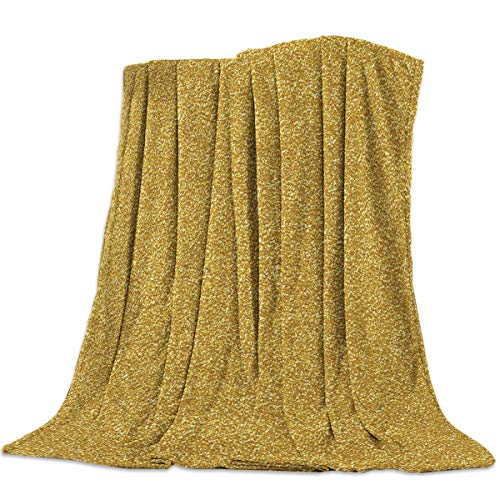Gold Foil Texture - CHARMHOME Comfort Throw Blanket Gold Foil Paper Texture Pattern Lightweight Plush Microfiber Fleece Comfy Gift Blankets for Chair Bed Couch, 50x60 Inch
