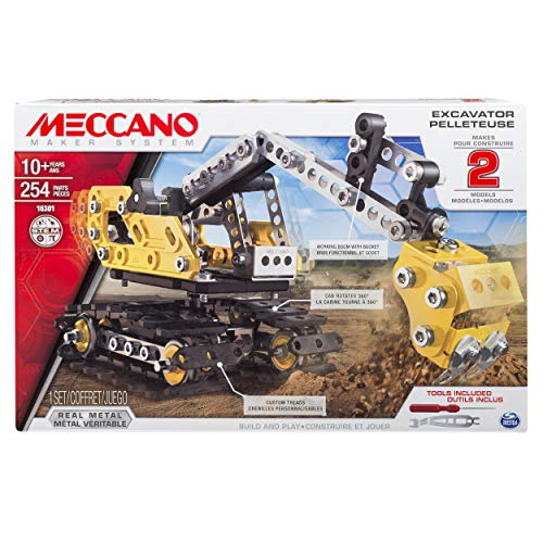 Meccano, 2-in-1 Model Set, Excavator and - Model Bulldozer