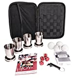 Perfect Pregame 16 Piece Drinking Games Kit - Featuring Collapsible Shot Glasses, The Joy of Drinking Games Book, Drinking Accessories - Fun College Student Gift - More Than Just Beer Pong