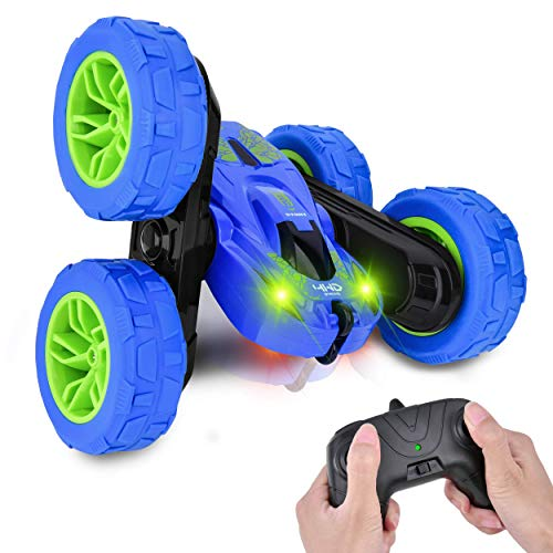 Remote Control Car 4WD RC Stunt Cars Toys for Kids Double Sided Rotating 360°Flips Off Road RC Truck Racing Car Toy Xmas Gifts for 3 4 5 6 7 8 9 Year Old Boys Adults 2 Batteries Blue (Gifts For Xmas 5)