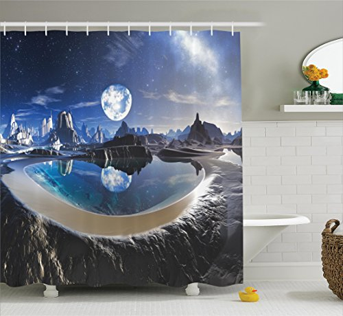 Crystal Fantasy Collection (Ambesonne Fantasy House Decor Collection, Reflection of Earth in Crystal Pool Alien Planet Fantasy Panoramic View, Polyester Fabric Bathroom Shower Curtain, 84 Inches Extra Long, Navy White Black)