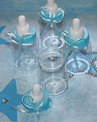 Small Blue Baby Bottle Favors Empty Box for Baby Shower Favors Containers , 25 (Cheap Plastic Baby Bottles)