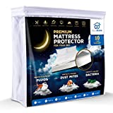 Queen Size Premium Waterproof Hypoallergenic Mattress Protector TESTED by KIDS - Stop ruin your mattress. Comfortable Cotton Terry Cover For Your Bed. Noiseless, Breathable, Vinyl Free
