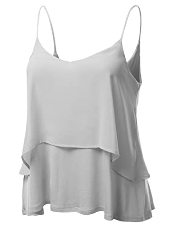 d5e364645e60e Oyanus Women s Chiffon Double Layered Sleeveless Loose Tank Top Cami Vest  Blouse Gray XL