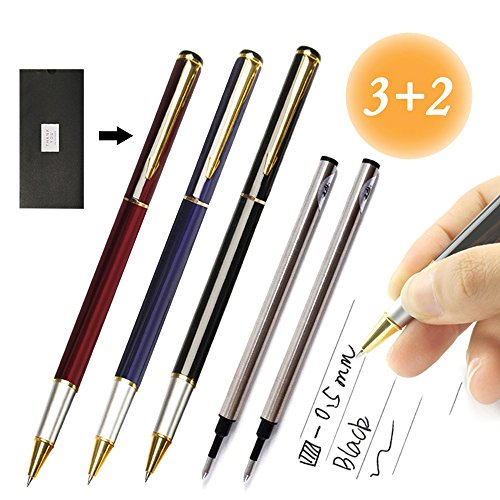 Roller Ball Point Pens Medium 0.5mm Black Gel Ink Refills Metal Pen School Business Office Customize Personalized Engraved Gift (3 Color Set)