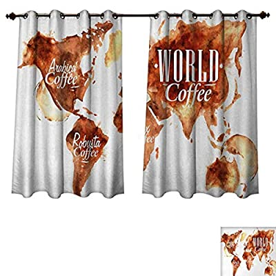 Anzhouqux Coffee Art Bedroom Thermal Blackout Curtains Continents World Map with Different Types Inscription Splashes and Blots Window Curtain Drape Burnt Sienna White