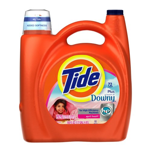 Tide with Touch of Downy High Efficiency April Fresh Scent with Actilift, 150-Ounce (Pack of 4) by Tide