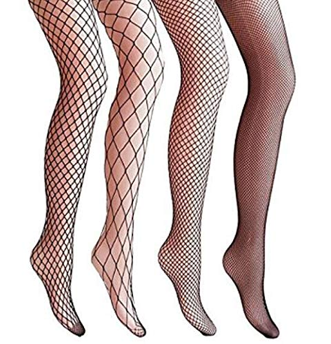MAREEYA SHOP 4 Packs Magik Women Fishnet Stocking Cross Seamless Nylon Mesh Tights Pantyhose Black ()