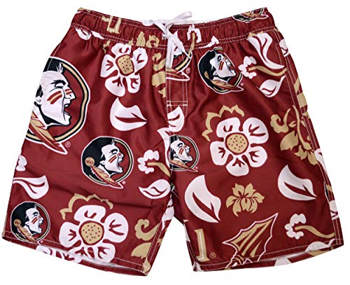 Florida State Mens Shorts - Wes and Willy NCAA Mens Floral Swim Shorts (X-Large, Florida State Seminoles)