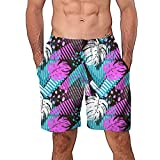 NUWFOR Men Casual 3D Graffiti Printed Beach Work Casual Men Short Trouser Shorts Pants(Z4-Multi Color,US:M Waist9.9-33.9'')