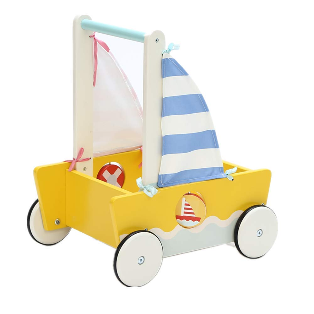 Children 2-in-1 Little Blue Yellow Sailboat Wooden Push Walker Toddler Push & Pull Toys Activity Walker Stroller Walker Toy Wagon with Wheel for Baby Girls Boys 1-3 Years Old