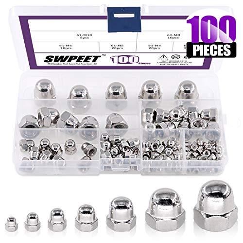 Swpeet 100Pcs 304 Stainless Steel Serrated Metric Acorn Cap Nuts Hex Dome Cap Assortment Kit, 7 Sizes - M3 M4 M5 M6 M8 M10 M12