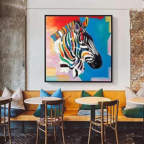 Geiqianjiumai Abstracto Colorido Cebra Pintura al óleo Lienzo Arte ...