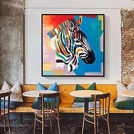 Geiqianjiumai Abstracto Colorido Cebra Pintura al óleo Lienzo Arte Regalo decoración del hogar Sala Arte de la Pared sin Marco Pintura 60X60 cm: Amazon.es: Hogar