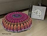 Aakarshan 32'' Puff Yellow Lavender Mandala Floor Pillow Cushion Seating Throw Cover Hippie Decorative Boho