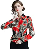 SANHION Women's Casual Long Sleeve Tops Button Down Shirt Leopard Print Blouse (2-12)