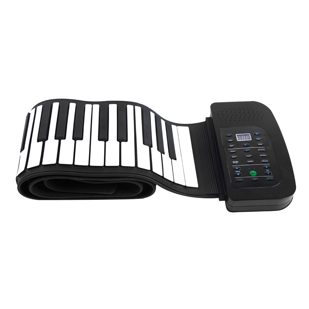 Andoer 88 Keys Roll Up Piano Foldable Keyboard Hand-rolling Piano with Battery Sustain Pedal (US plug)