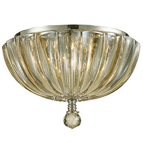 Worldwide Lighting Mansfield Collection 3 Light Chrome Finish and Golden Teak Crystal Bowl Flush Mount Ceiling Light 10