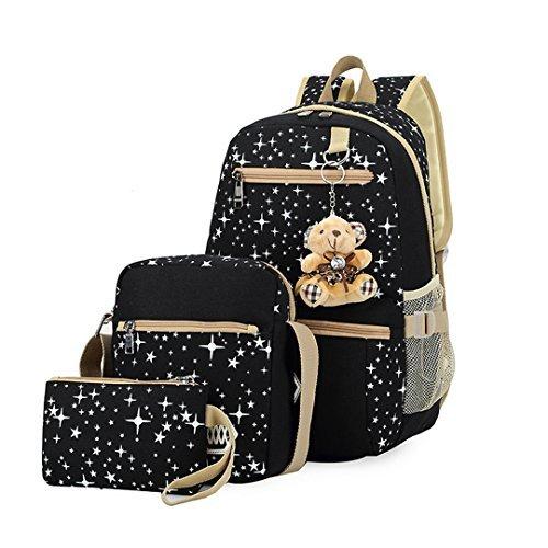 Canvas Backpack Set 3 Pieces Galaxy Star Patterned Bookbag Laptop School Backpack for Girls Black [並行輸入品]   B0789KP7KX