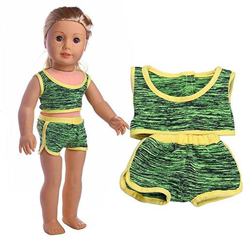 Choosebuy❤️ 18 Inch for American Girl Dolls Handmade Sleeveless Swimwear + Swim Trunks Doll Accessory (Green)