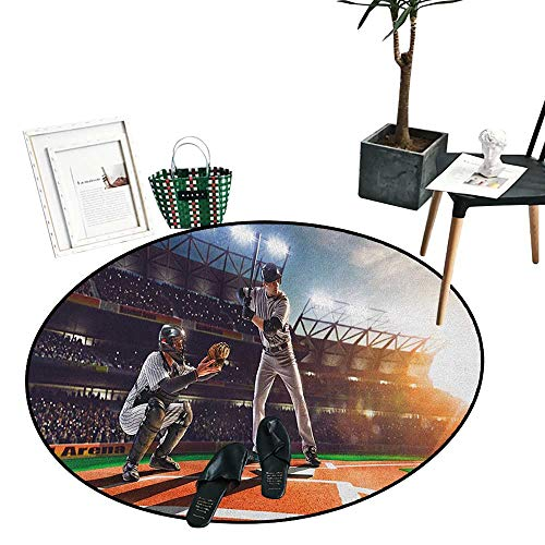 Teen Room Round Rug Kid Carpet Professional Baseball Players in The Stadium Playing The Game Pich Sports Print Living Dinning Room and Bedroom Rugs (36