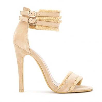 3f044fca49 Shoe Closet Ladies Nude Barely There Stilettos Peep Toes Strappy Sandals  Stiletto High Heels UK3/