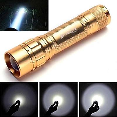 Kikisale SKYWOLFEYE Zoomable 3000 Lumen 3 Modes CREE XML T6 LED Focus 18650 Gold Lamp Flashlight