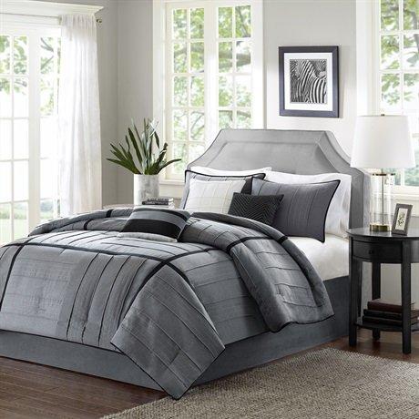 Madison Park Bridgeport 7 Piece Comforter Set, Grey, Queen