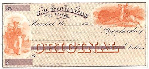 (1864 HUGE HANNIBAL MISSOURI BANK DRAFT w BUFFALO HUNT, SAILOR (ORANGE & PURPLE) Unissued Choice Crisp Uncirculated )
