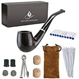 Joyoldelf Wooden Tobacco Smoking Pipe, Pear Wood Pipe with Pipe Cleaners, 9 mm Pipe Filters, 3-in-1 Pipe Scraper, Pipe Bits, Metal Balls, Cork Knockers, Bonus a Pipe Pouch with Gift Box
